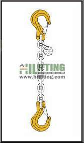 Single chain sling with clevis sling hook with safety latch each end