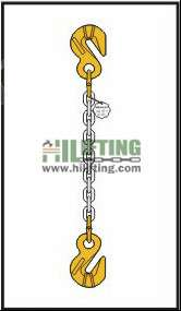 Single chain sling with cradle eye grab hook each end