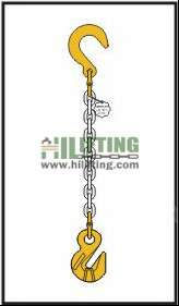Single chain sling with eye foundry hook and cradle eye grab hook