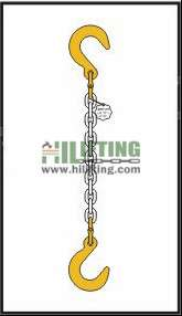 Single chain sling with eye foundry hook each end