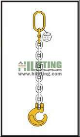 Single chain sling with master link and clevis forest hook
