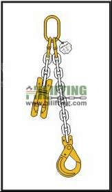 Single chain sling with master link and clevis self locking hook with safety latch and adjustable shortening clutch
