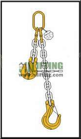 Single chain sling with master link and clevis sling hook with safety latch and adjustable cradle clevis grab hook