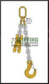 Single chain sling with master link and clevis sling hook with safety latch and adjustable shortening clutch