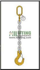 Single chain sling with master link and clevis sling hook with safety latch