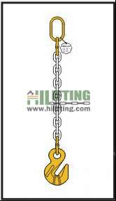 Single chain sling with master link and cradle eye grab hook