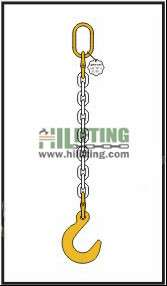 Single chain sling with master link and eye foundry hook