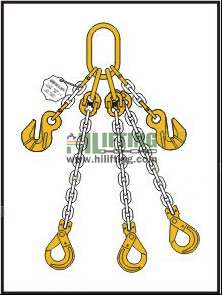Triple Chain Sling with Master Link Assembly and Clevis Self Locking Hook and Adjustable (Cradle Eye Grab Hook)