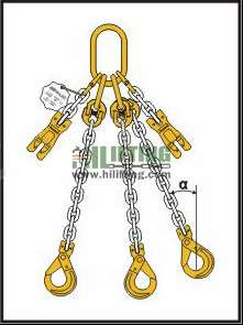 Triple Chain Sling with Master Link Assembly and Clevis Self Locking Hook and Adjustable (Shortening Clutch)