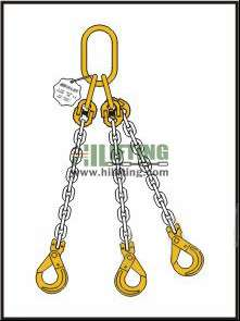 Triple Chain Sling with Master Link Assembly and Clevis Self Locking Hook