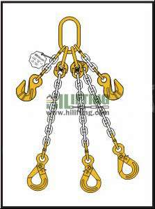 Triple Chain Sling with Master Link Assembly and Eye Self Locking Hook and Adjustable (Cradle Eye Grab Hook)