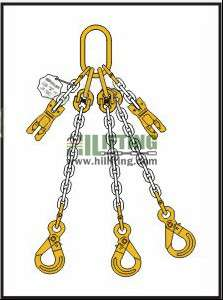 Triple Chain Sling with Master Link Assembly and Eye Self Locking Hook and Adjustable (Shortening Clutch)