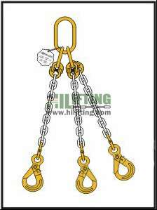 Triple Chain Sling with Master Link Assembly and Eye Self Locking Hook