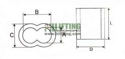 Wire Rope Sleeve Double Barrel Aluminium Ferrule Sketch